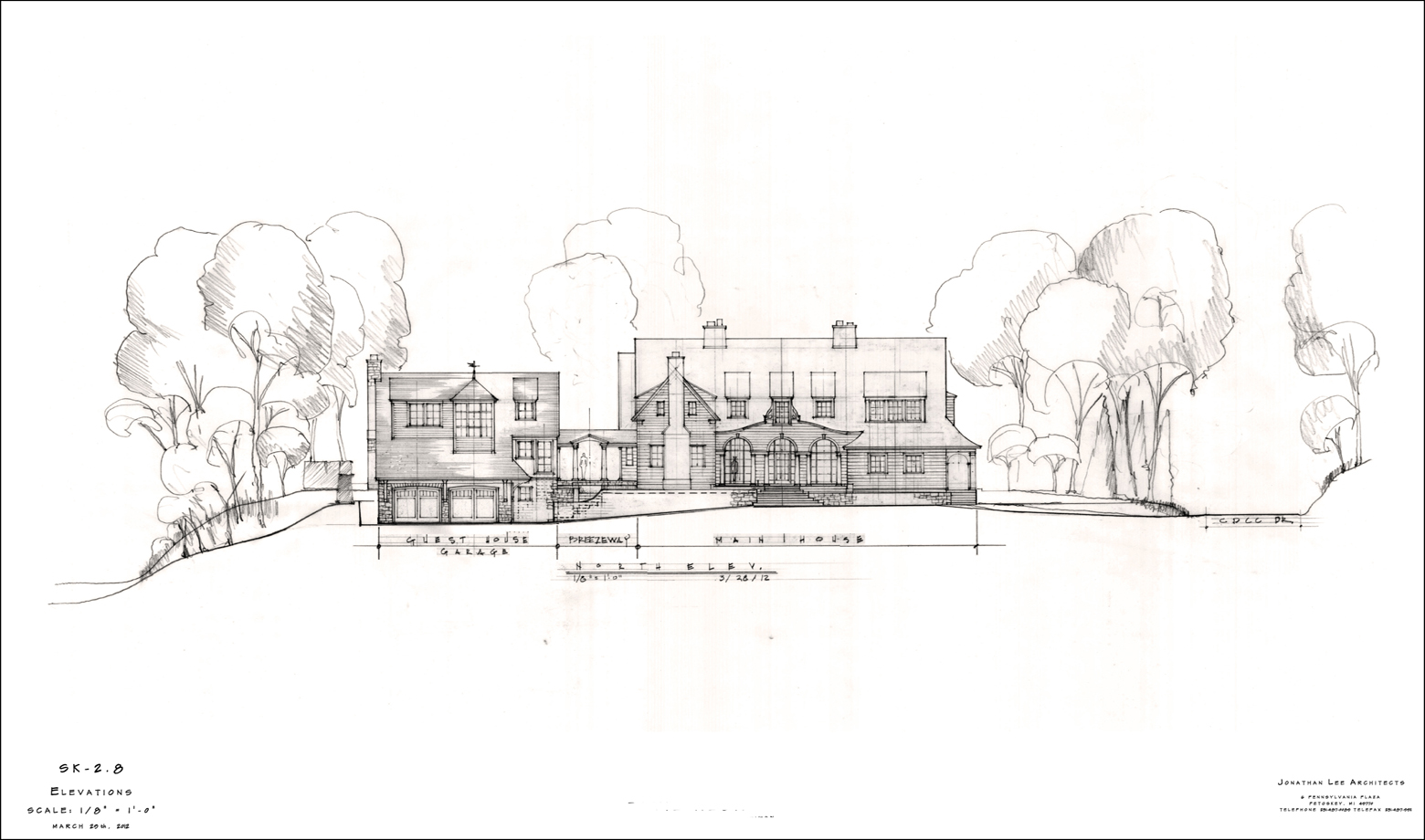 Hand drawing of a residential design